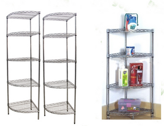 Heavy duty NSF 5 layer round chrome wire corner shelf rack