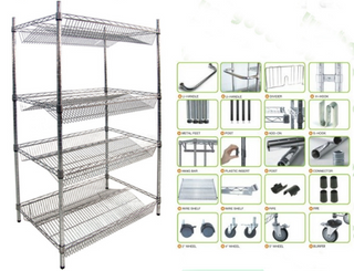 Light duty NSF 4 layer chrome slant wire shelf rack