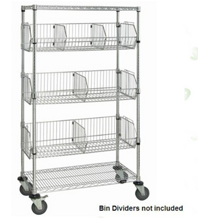 Heavy duty NSF 5 tier chrome wire basket shelving rack with wheels