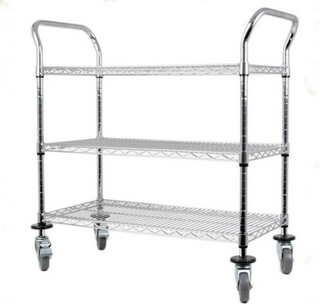 Light duty NSF 3 tier chrome double handle wire push cart with wheels